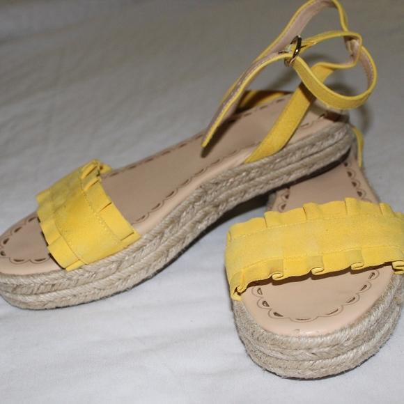 d108b1f0e1 crown & ivy Shoes | Yellow Platform Sandals | Poshmark